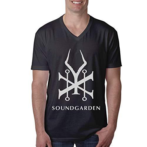 Sound Garden Camiseta de Manga Corta con Cuello en V y Manga Corta para Hombres y j¨®Venes
