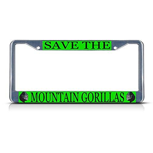 Save The Mountain Gorilla Metall-Kennzeichenrahmen mit Zwei Löchern für Männer, Frauen, Auto-Dekoration