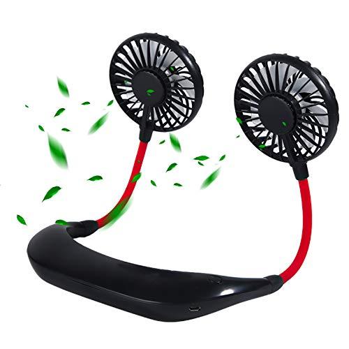 Yokawe Mini Ventilador De Cuello Colgante Carga USB Portátil Flujo De Aire Aromaterapia Incorporada Luz Multicolor De 3 Niveles Suministro De Refrigeración Portátil para Exteriores Negro