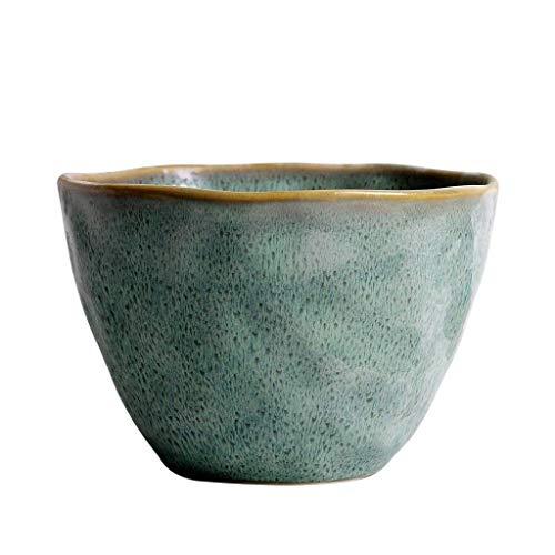 QTQHOME Japanese Coarse Pottery Bowl Vintage Handmade Ceramic Tableware Big Noodle Bowls Ramen Mixing Bowls Fruit Salad (Color:Green)