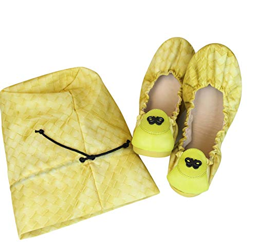 Bottega Veneta Women's Yellow Nylon Intrecclolusion Ballerina Ballet Flat 307913 (38 EU / 8 US)