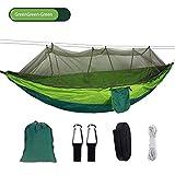 NM Hamaca de Camping portátil con mosquitera Tienda de Senderismo al Aire Libre Columpio Colgando Cama de jardín Hamaca Doble para Dormir GreenGreen-Green