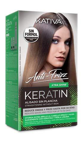 Kativa KERATIN Alisado Sin Plancha Anti-Frizz Xtra Shine - Glättungsset Shampoo 30 ml + Conditioner 30 ml + Maske 150 ml