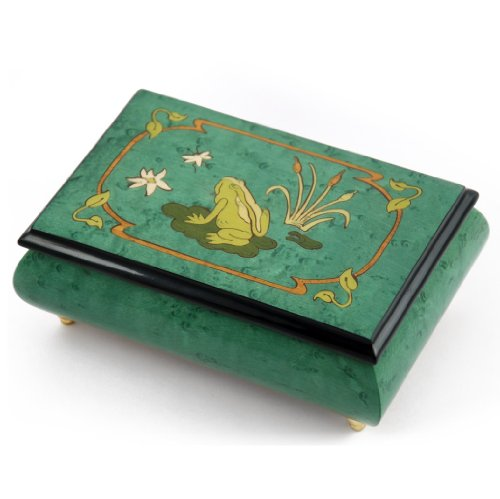 Brilliant Green Stain Musical Jewelry Box with Frog on Lily Pad with Fireflies Wood Inlay - Mountains O'Mourne (P French/H Collison) - SWISS