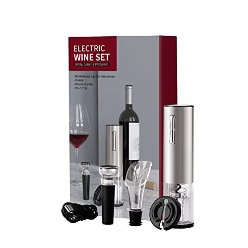 Staright Kit abridor de garrafa de vinho elétrico Recarregável saca-rolhas automático contém rolha de vácuo e aerador de vinho com cabo de carregamento USB para vinho 4 em 1 conjunto de presente