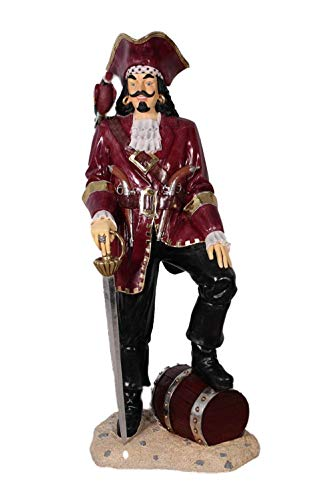 LM Treasures Pirate Captain Morgan with Barrel Life Size Statue