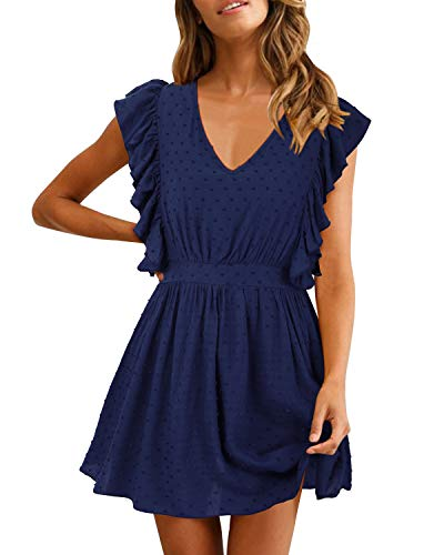 SOLERSUN Short Dresses for Women Summer, Women's Casual Summer A-line V Neck Ruffle Sleevesless Stretchy Swing Cocktail Party Mini Dress Dark Blue M