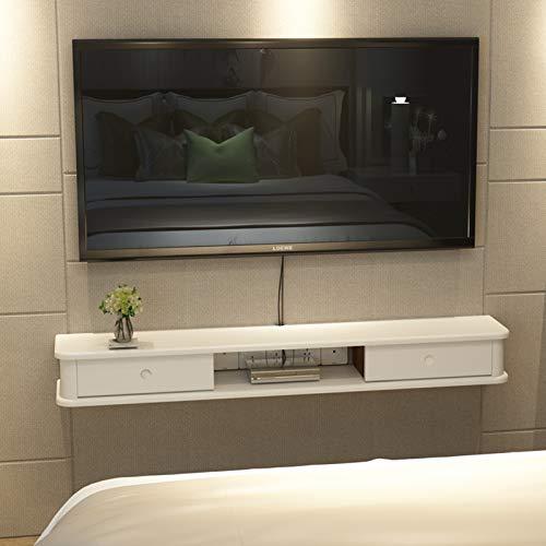 Mueble de TV de pared Estante de pared Estante flotante Set-top box Router CD DVD Armario de almacenamiento Dormitorio Sala de estar Estante de decoración de pared de fondo de TV Con cajón