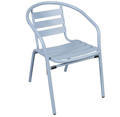 thesecrethome.es Silla Aluminio Azul Claro. Ideal para TU Jardin O TERRAZA. (73 x 57 x 54 cm)