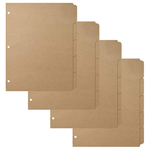 """3 Ring Binder Dividers with 5-Tabs for Letter Size, 1/5 Cut, 3-Hole Punched, Blank Kraft Paper Index Dividers 8.5"""" x 11"""" for Extra Durable for School, College, Kids and Adults - 4 Sets - 20 Sheets"""