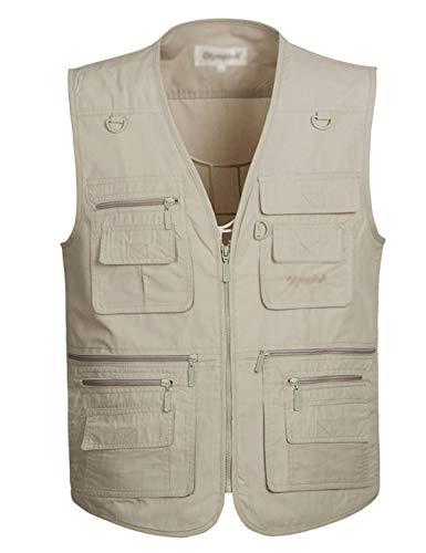 Flygo Men's Summer Casual Outdoor Utility 16 Pockets Journalist Fishing Photo Travel Vest Plus Size (X-Large, Beige)