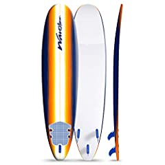 Soft Foam Construction Classic Surfboard, strong EPS core with 3 stringer system Soft WBS-IXL ( Water Barrier Skin ) crosslink top deck and rails High Density (HDPE) Polyethylene slick bottom skin Exclusive New Sun Burst Color Graphic art deck Includ...