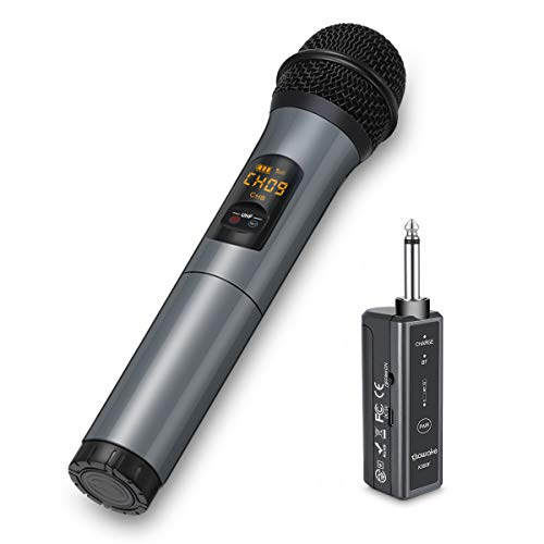 Wireless Microphone, 10 Channel UHF Wireless Bluetooth Microphone System, Dynamic Handheld Cordless Mic with Rechargeable Receiver(Work 10hrs) for Karaoke/Singing/Speaker/Church/Speech (100ft Range)