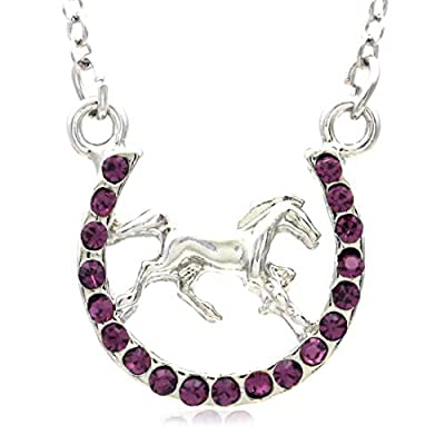 Horse Mustang Pony Horseshoe Necklace Pendant Lucky Charm Western Cowboy Cowgirl (Purple)