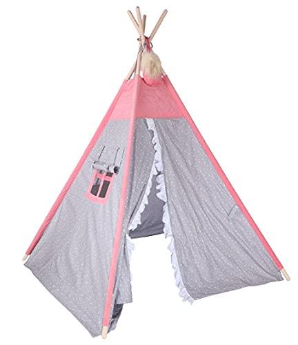 Kinder Hop Tipi Pow-Wow - Tienda de campaña (170 cm, polialgodón, 2 piezas), color rosa