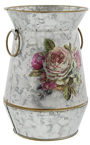 Galvanized Metal Vase with Watercolor Rose Design