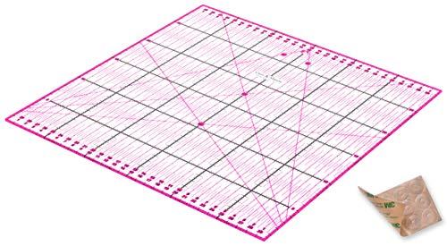 Guss & Mason Patchwork Lineal 30x30 cm mit gratis Anti Rutsch Aufklebern. Transparentes Universal Lineal mit cm und Winkel-Maßen