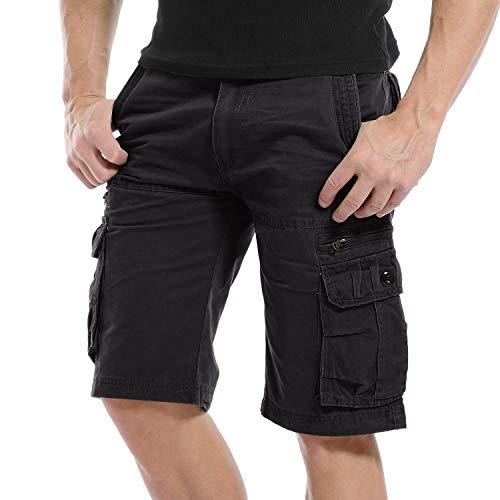 Yidarton Cargo Shorts Herren Kurze Hosen Outdoor Casual Cargo Bermudas Sommer Unifarben/Camouflage (ohne Gürtel), M-CN 32, Style1-schwarz