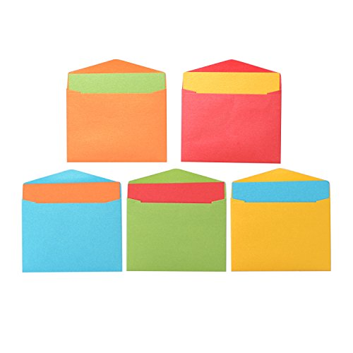 Premium Mini Flat Blank Gift Cards (2 9/16 x 3 9/16) with Envelopes (2 11/16 x 3 11/16) Co-ord Set – 50 ct Each Assorted Colors Vintage Italian Pearlescent Paper for All Occasions