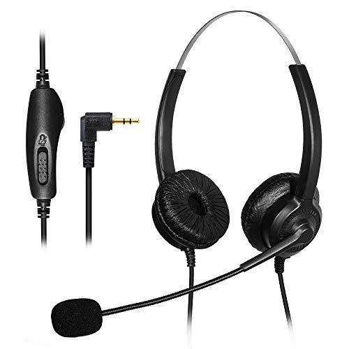 TWOTW Auricular central de teléfono con auriculares de 2,5 mm, micrófono con cancelación de ruido, control de volumen para teléfonos fijos específicos
