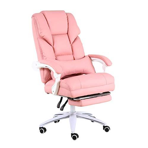 Pink Girl Linda y cómoda Silla de Oficina para computadora |Asiento elevable Tipo S de Cuero fácil de Limpiar | Rueda silenciosa de Nailon |Adecuado para Oficina y Familia.