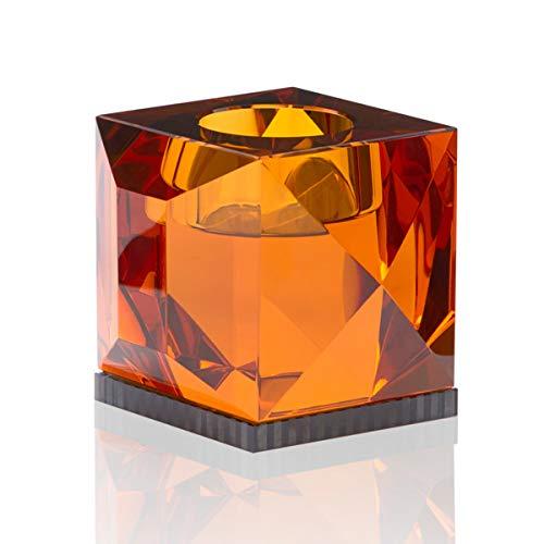 Reflections Copenhagen - Ophelia - Teelichtständer, Kerzenleuchter, Kerzenständer - Kristallglas - Amber, Klar - (LxBxH): 9 x 9 x 7,8 cm