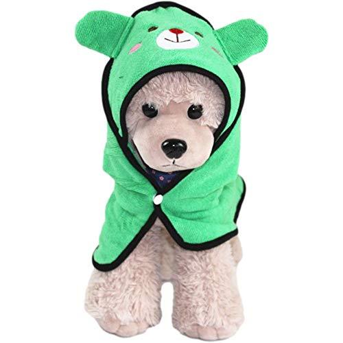 qiaoke Pijama Perro, Albornoz de Toalla de baño Absorbente de Secado rápido para Mascotas con Bordado Lindo Adecuado para Perros y Gatos pequeños-Verde_Metro