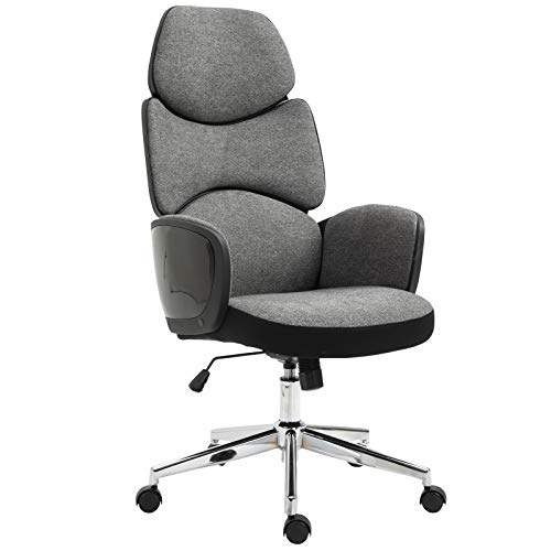Vinsetto Modern Office Chair Ergonomic Thick Padding High Back Armrests Height Adjustable Rocking w/ 5 Wheels Swivel Home Office Grey Black
