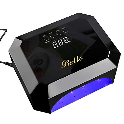 Belle Lampada Unghie, UV LED Lampada per Unghie con 4 Timers e automatico sensore, Professionale Lampada per Gel Unghie, Asciuga Unghie con Display LCD & Piastra di Base Magnetica Rimovibile