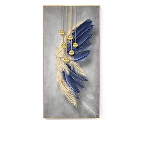 Aawerzhonda Lona Pared Arte Decoración nórdica líneas de Plumas Doradas Azules Pared Arte Lienzo Carteles...