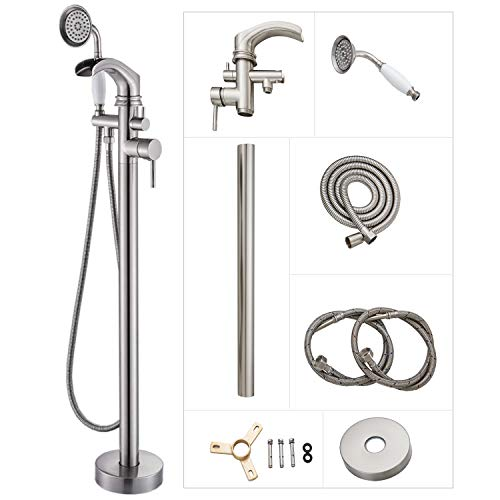 Rozin NEW Freestanding Bathtub Faucet Single Handle Waterfall Spout Bathroom Floor Mounted Calwfoot Tub Filler Shower Faucet Set with Handheld Sprayer