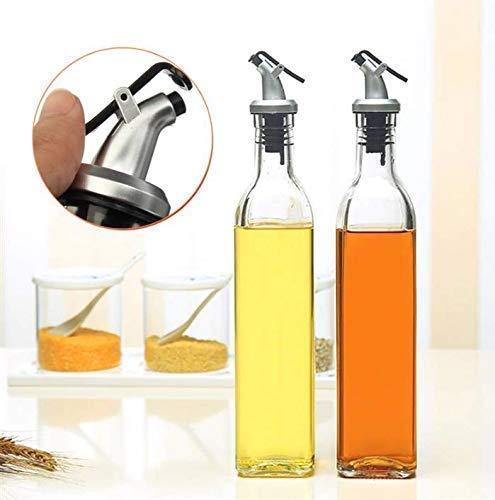 PRAMUKH FASHION Enterprises Glass Oil and Vinegar Storage Bottle Cruet Seasoning Set for Dining Table and Home and Kitchen Sauce Bottle Dispenser [500 ml + 500 ml ] (Transparent) Pack of 2