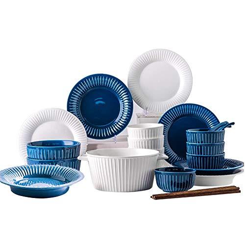 Juegos de vajilla, 26 juegos de vajilla para 5, juego de vajilla de cerámica, juego de vajilla en estilo francés, juego de platos y cuencos con rayas azules blancas, porcelana combinada completa, apto