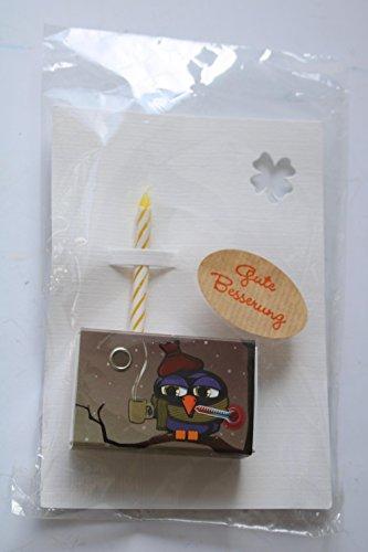 Glückwunschkarte Gute Besserung mit Kerze und kleinem Glücksbringer - verschieden sortiert!
