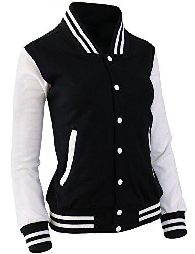 The-Tops Women's Baseball Jacket Varsity Cotton Letterman Jackets Black-White-M
