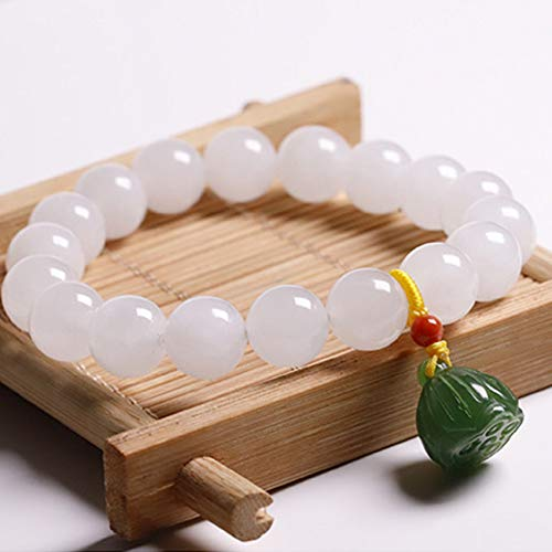 Natürlich Glück Hetian White Jade Lotus Armreif Armband Für Frauen Feng Shui Wealth Armband Retro Chinesische Geschenke Stil Armreif Anziehen Geld Für Glück Wohlstand Bring Wohlstand,10mm