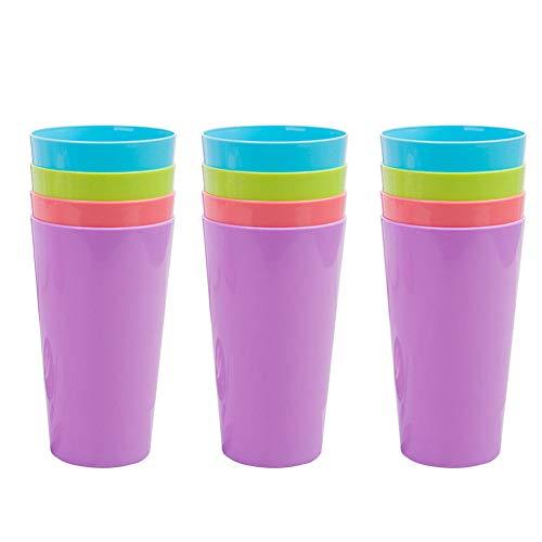 Copas de plástico 12 piezas reutilizables tazas de camping tazas de beber para interior al aire libre, fiestas, camping, playa y picnic, coloridas tazas apilables para niños,4 colores, 500 ml / 17 oz
