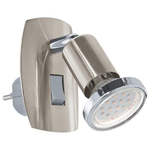 EGLO Steckdosenspot Mini, 1 flammige Steckerleuchte, Steckdosenlampe aus Stahl, Farbe: nickel matt, chrom, Fassung: GU10, inkl. Schalter