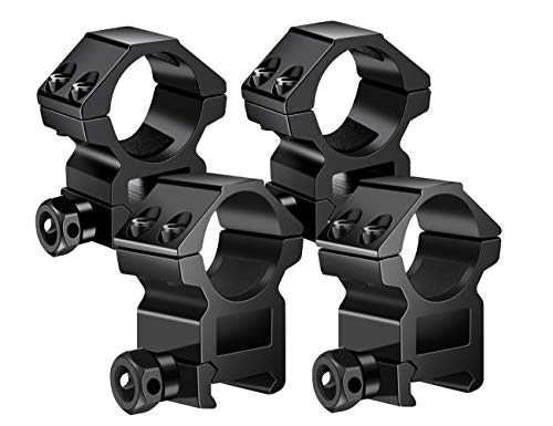 TACwolf 1 Inch Scope Rings, 2Pcs Medium Profile and 2Pcs High Profile Scope Mount Rings for Picatinny/Weaver Rail