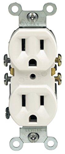 Leviton 5320-WMP 15 Amp, 125 Volt, Duplex Receptacle, Residential Grade, Grounding, 10-Pack, White