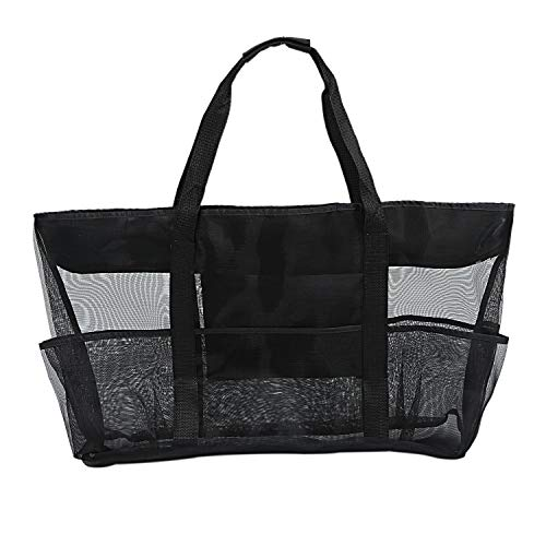 Xxl Mesh Beach Bag Family Mesh Beach Bag Mesh Bag For Sand Toys Extra Large Family Mesh Beach Bag Tote,Black,Onesize
