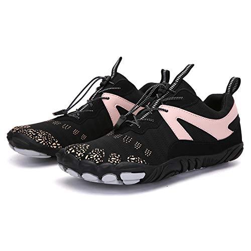 Y-PLAND Par de zapatos de cinco dedos al aire libre, zapatos de senderismo para hombres, zapatos de senderismo transpirables, zapatos de escalada de roca de los hombres - Negro_EU39