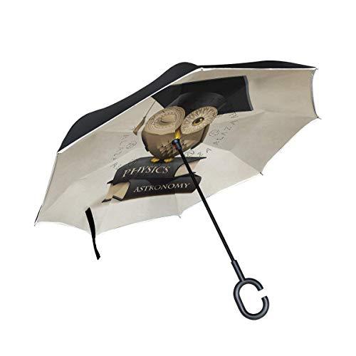 AOTISO Gufo con cappello di laurea seduto su libri Ombrello rovesciato, Ombrello reversibile per auto a pioggia a doppio strato per esterno a pioggia a doppio strato