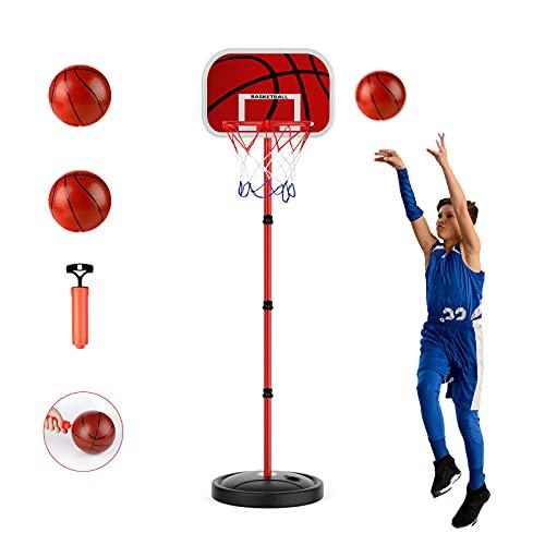 zinuo Canestro Basket per Bambini 170CM Altezza Regolabile Posteriore con Cerchio Freestanding Stand di Pallacanestro Portatile per Bambini