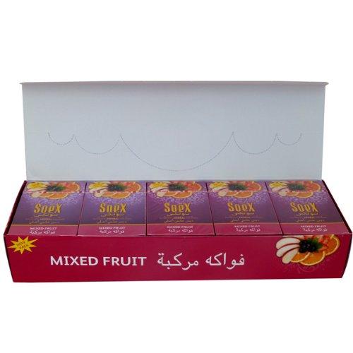 Soex Hookah Shisha Mix Fruchtgeschmack, authentische Kräutermelasse, vollständig versiegelt, 10 Packungen x 50 g – insgesamt 500 g