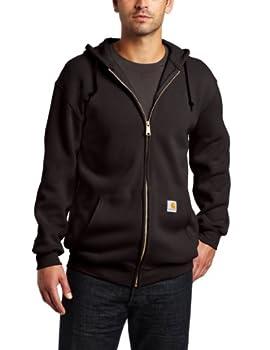 Carhartt Men s Big & Tall Midweight Sweatshirt Hooded Zip Front Original Fit K122,Black,XXX-Large Tall