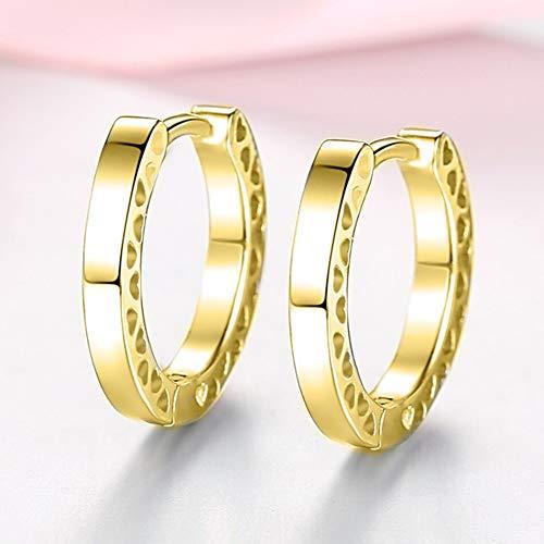 Pendientes de corazón pequeños de oro Pendientes de aro redondos de plata de ley 925 para mujer Joyería Regalo femenino