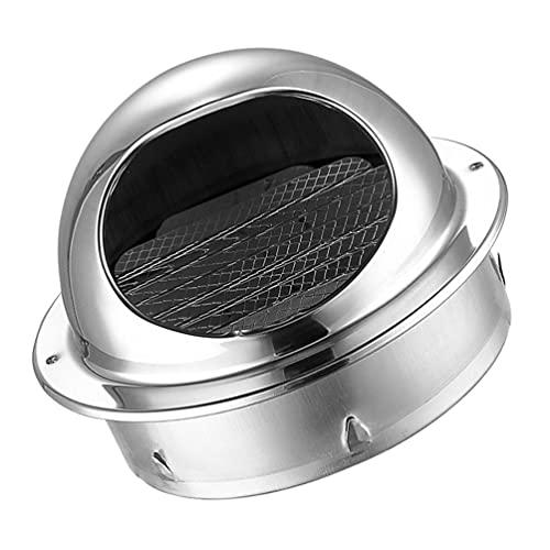 Hemoton Rejilla de Ventilación de Ventilación de Ventilación Cubierta 80Mm de Acero Inoxidable Tubo Redondo Extractor Externo Salida de Ventilación de Pared Secador Ventilador Esférico