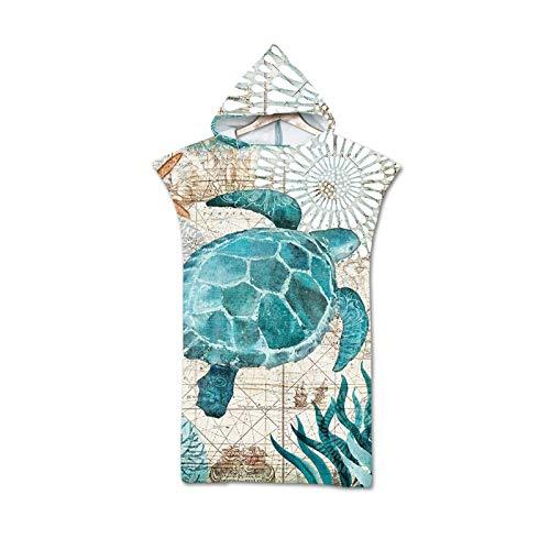 Robes Albornoz Cambio de Toallas de Microfibra con Capucha for Adultos baño Capa de baño Hombres Mujeres del Estampado de Animales Natación Toalla de Playa Surf Poncho (Color : A)