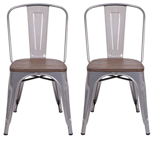 Set of 2 Carlisle High Back Metal Dining Chair with Wood Seat Natural Metal - Threshold™